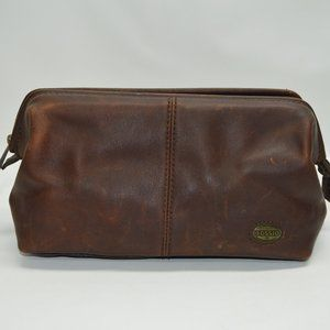 Fossil Brown Genuine Leather Toiletry Shave Travel